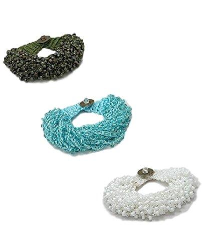 Artisan Glass Seed Bead Handmade Crochet Bracelet (161) (Blue)