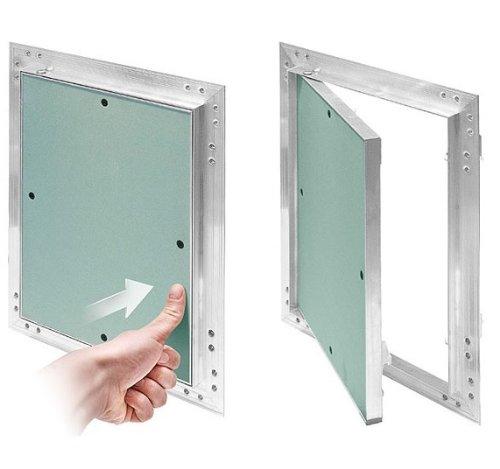 Inspection Flap GK insert 500 x 500 MM Plasterboard 12.5 MM KRAL14 Revision Wartungstü r Inspection Flap 50 x 50 CM maintenance cleaning hatch Wartungsö ffnung with Aluminium Frame Attachment Green MKK-SHOP