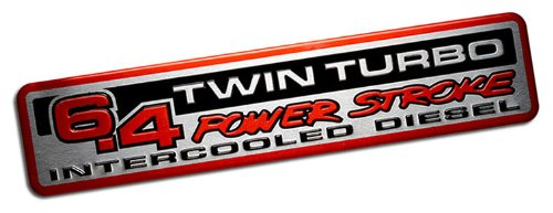 6.4L POWER STROKE TWIN TURBO INTERCOOLED DIESEL Engine Swap EMBLEM Badge Nameplate for Ford Excursion F-Series Super DutyTruck F250 F350 F450 F550 08 09 10 2008 2009 2010