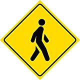 Aluminum Yellow Diamond Caution Pedestrian Crossing Signs Commercial Metal Square Sign - Single Sign, 12x12