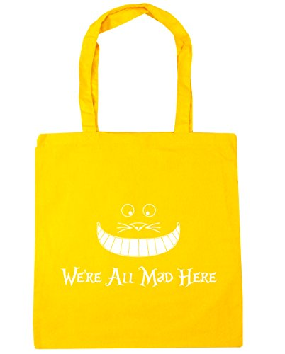 Beach Gym x38cm litres Yellow 42cm all 10 Bag HippoWarehouse we're mad here Shopping Tote cM0nB1wFYq