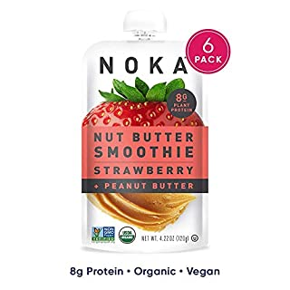 NOKA Nut Butter Smoothie Pouches (Strawberry Peanut Butter) 6 Pack | 100% Organic Fruit And Nut Butter Squeeze Packs | Non GMO, Gluten Free, Vegan, 8g Plant Protein | 4.22oz Each