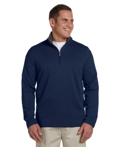 Ashworth 4019 Mens French Terry Half-Zip Pullover - Navy - L