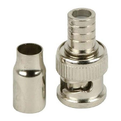 BNC Crimp On Connector RG-59 Or RG-6 Coax Cable CCTV Adapter Crimp On (2pc) / Connector Coax Coaxial Plug Adapter RG-59 Or RG-6 Converter/RF Audio Video Coax Component (x2, RG-6)