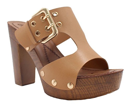 SHU CRAZY Womens Ladies Cut Out Slip On High Block Heel Platform Peeptoe Mules Sandals Shoes - M4 Camel XWPJKVpr