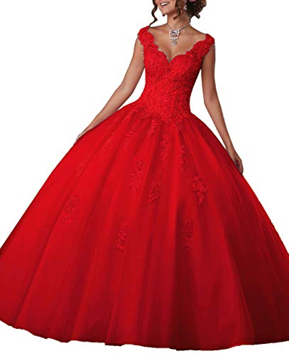 EileenDor Women's V Neck Sleeveless Quinceanera Dresses Embroidery Beading 15 Dresses Sexy Open Back Formal Prom Gown Red