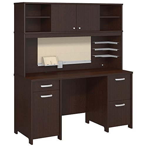 Hutch Modular Office Furniture - Bush Furniture Envoy Office Desk with Hutch and 2 Pedestals in Mocha Cherry