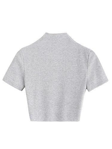 - SweatyRocks Women's High Neck Knit Ribbed Crop Tops Basic Short Sleeve Sweater (Large, Grey)