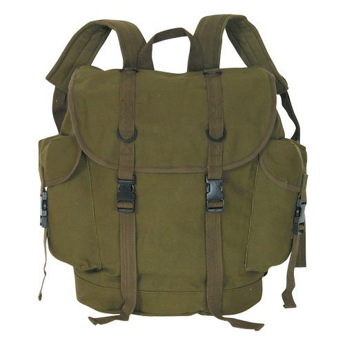 Canvas German Style Alpine Rucksack FULL SIZE - Military Spec - Unisex - Olive by 4 Star Military Surplus ()