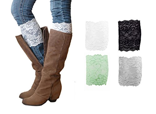 [HipGirl Girl Junior Leg Warmers (4 Pairs Junior Lace Boot Cuff)] (White Rabbit Dance Costumes)