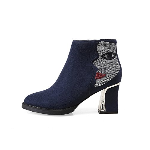 Balamasa Dames Chunky Hakken Glas Diamant Rits Frosted Boots Blauw