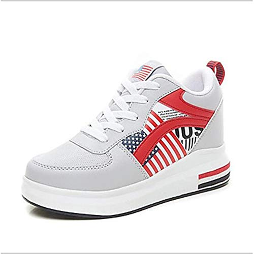 5 Deporte Tacón CN38 TTSHOES Zapatillas 5 Zapatos UK5 Confort Gray Negro Primavera US7 Cuña PU Gris De EU38 Mujer 4qH0qwTx8