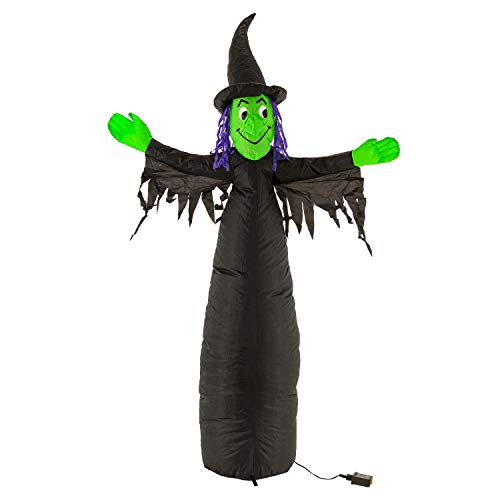Halloween Haunters 5 Foot Inflatable Scary Black and Green Witch with LED Lights Indoor Outdoor Yard Lawn Prop Decoration - Wicked Blow Up Haunted House Party Display -