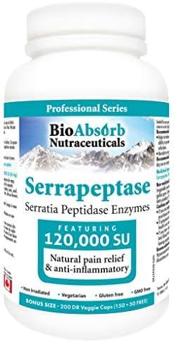 Serrapeptase Enzyme, High Potency 120000 Units (SPU), Enteric Coated. 200 Vegetarian Capsules. 200-day Supply