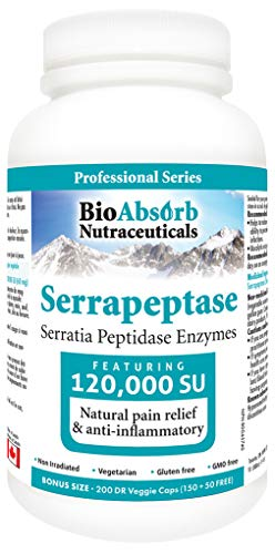 Serrapeptase Enzyme, High Potency 120000 Units (SPU), Enteric Coated. 200 Vegetarian Capsules. 200-day Supply