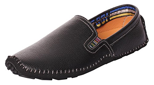 UJoowalk Mens Comfortable Casual Stylish Penny Stitched Striped Driving Slip on Loafer Shoes (10 D (M) US, Black)