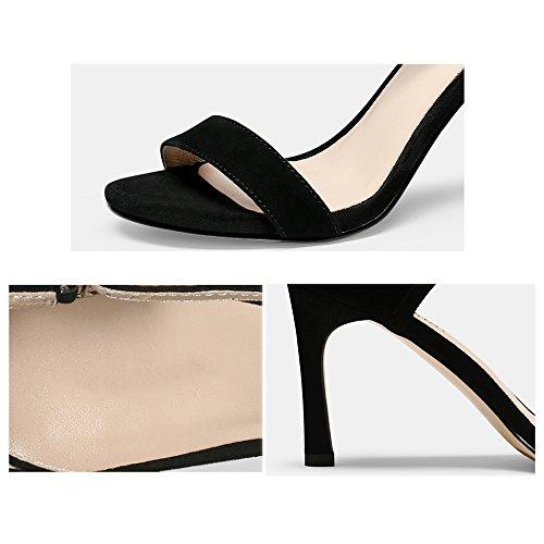 Para Gljxg Negro Moda Tobillo Verano Tacón Correa Sandalias De Alto Mujer Aguja fSq6IxS