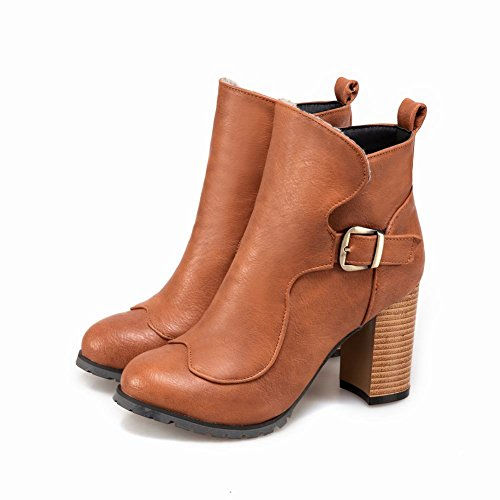 Mee Shoes Damen chunky heels runde Kurzstiefel Braun