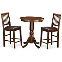 East West Furniture EDVN3-MAH-LC 3 Piece Small Kitchen Table and 2 Bar Stools Set