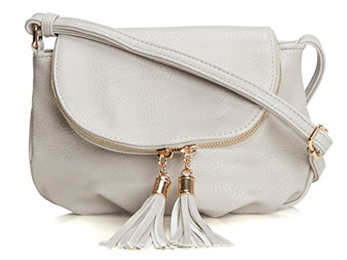 Bag Stone (Lily Jane Crossbody Messenger Womens Zipper Flap Bag with Tassels (Stone))