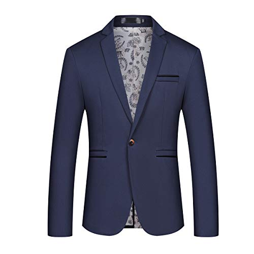 - Mens Slim Fit Sport Coat Casual One Button Solid Color Jacket Blazer Navy