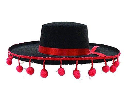 21300 (7 1/8) Spanish Hat W Pom Poms - Spanish Hat With Pom Poms