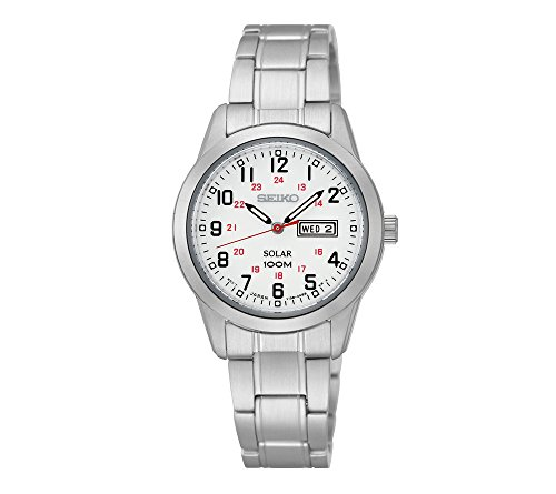 41Gcxx9pnmL - Seiko Women's Silvertone Solar Watch