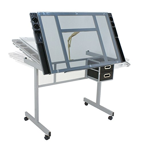 Adjustable Drafting Table Drawing Desk Craft Station Art Craft Glass Top W/ 2 Slide Drawers & Rolling Wheels, tilts to 62.5 Degrees ()