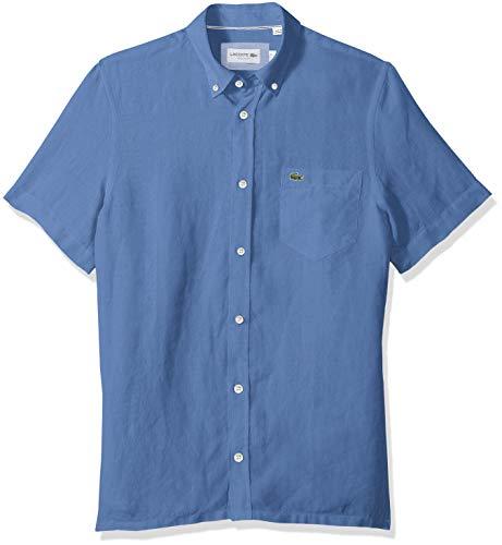 Lacoste Mens Short Sleeve Solid Linen Button Down Collar Reg Fit Woven Shirt, CH4991