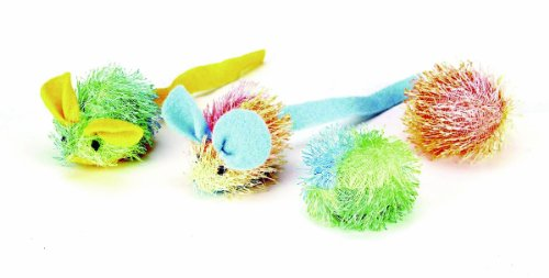 (Ethical Stringy Mice and Ball with Catnip Cat Toy, 4-Pack)