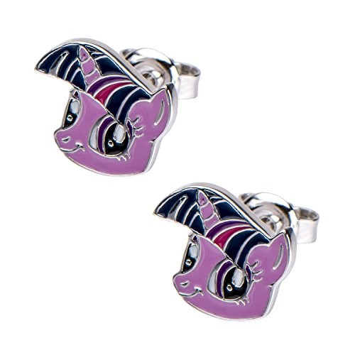Hasbro Jewelry My Little Pony Twilight Sparkle Women's 925 Sterling Silver with Preciosa Crystal Rose Stud Earrings]()