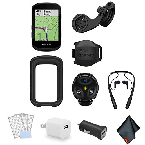 Garmin Edge 830 Cycling/Bike GPS Computer Bundle with Wrap Around Bluetooth Earbuds + LCD Screen Protectors + USB Adapter and More