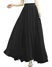 Women Full/ankle Length Elastic Pleated Retro Maxi Chiffon Long Skirt