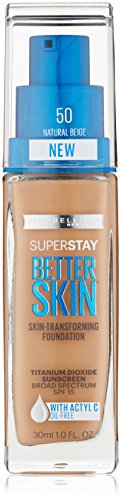 Maybelline New York Super Stay Better Skin Foundation, Natural Beige, 1 fl. oz.