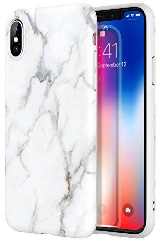 iPhone X Case/iPhone 10 Case - MoKo Marble Design Slim Fit Cover Soft TPU Bumper Pattern Shell Flexible Shock-Absorbing Back Panel for Apple iPhone X 2017 - White