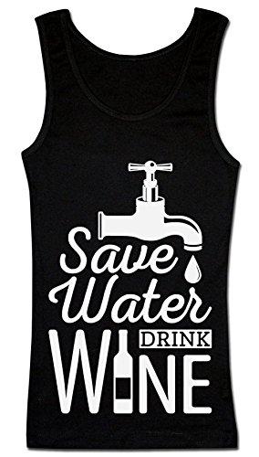 Save Water Drink Wine Water Tap And Bottle Of Wine T-shirt senza maniche da donna