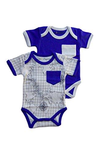 Cat & Dogma - Certified Organic Baby Clothing - Short Sleeves Bodysuit 2 Pack - Map + Indigo (3 to 6 (Halloween Bunny Makeup)