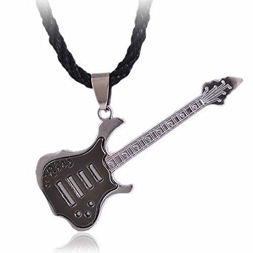 Collar Guitarra Rock Eléctrica, Eric Clapton Música Negro Oro Plata Acero: Amazon.es: Joyería