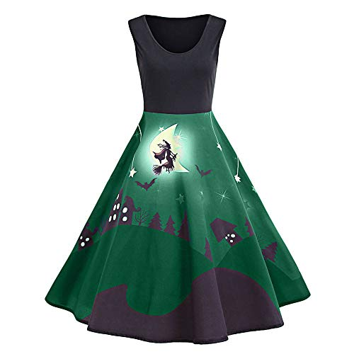 Realdo Womens Halloween Holiday Dress, Clearance Sale Print Sleeveless Casual Retro Pleated Long Dresses(Small,Green) -