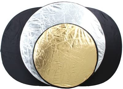 White ePhoto 3 Reflector Set Combo 5-in-1 Collapsible Disc Reflector Translucent Silver Gold with Carrying Case for Each Reflector by ePhoto INC 3refset Black