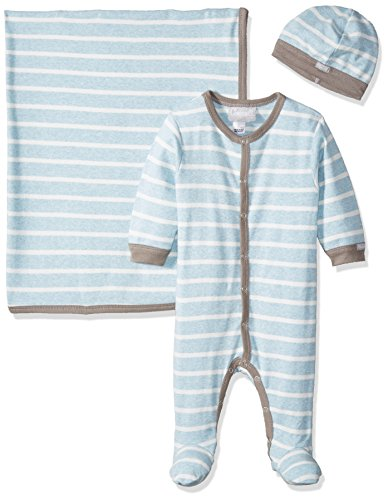 Coccoli Baby Boys' Blue Contrast Rib Knit Cotton Footie + Cap + Blanket, Heather Blue/Cream Stripes, 6 Months (Stripe Knit Layette)