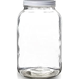 Pakkon Wide Mouth Glass Mason Jar, 1 Gallon