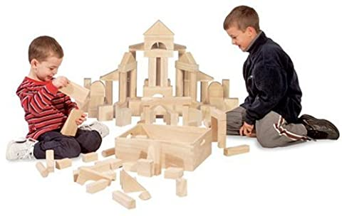 Melissa & Doug Standard Unit Solid-Wood Building Blocks With Wooden Storage Tray (60 pcs) (Houston Crib)