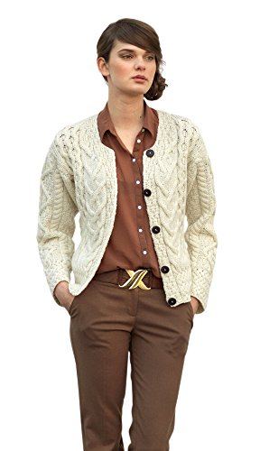 Ladies Large Irish Cable Wool Cardigan (XLarge, Natural) (Sweater Cable Natural)