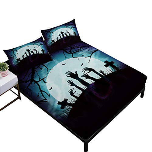 JARSON Halloween Nightmare Sheet Set Full Size,Moon Night Zombie Printed Bed Sheets Kids Cartoon Bedding Set,Flat Sheet + Fitted Sheet + -
