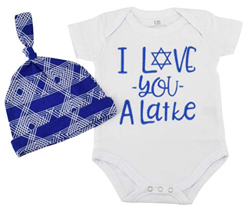 Unique Baby Boys I Love You Latke Hanukkah Layette Outfit Cap (3 Months) ()