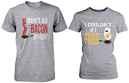 Cute Matching Couple Shirts - Bacon and Egg Grey Cotton Graphic T-shirts ()