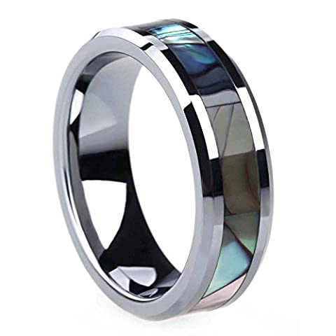 Tungsten Abalone Shell Inlay Ring Wedding Band Beveled Edge for Men Women 6mm 8mm (Abalone Inlay Band Ring)