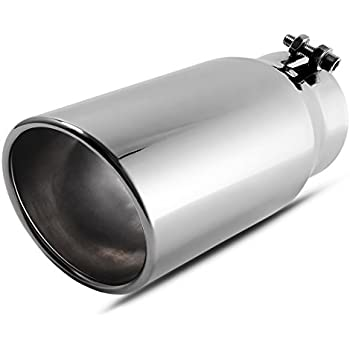 3 x 5 x 12 Clamp On Design. Richeer Universal 3 Inside Diameter Diesel Exhaust Tailpipe Tip 3 Inch Black Exhaust Tip