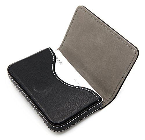 - RFID Blocking Wallet - Minimalist Leather Business Credit Card Holder with Magnetic - Black
